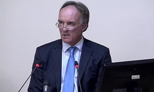 Tom Crone speaks at the Leveson inquiry, in 2011.