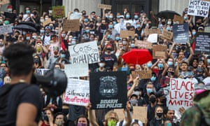 Protesters demonstrate against police brutality in New York on Friday.