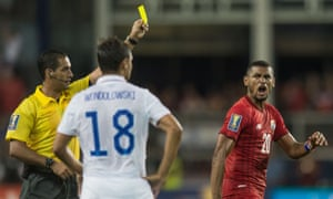 Anibal Godoy (20) of Panama reacts to receiving a yellow card.
