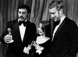 Blatty, pictured with Linda Blair and Max Von Sydow at the 1973 Golden Globes ceremony.