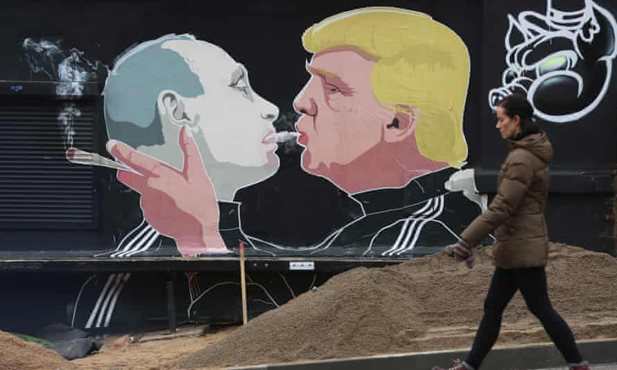 A mural in Lithuania: 'The Obama administration was slow to notice that Russia was working flat out to help Donald Trump'