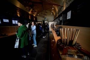 Tourists at the Leonardo da Vinci museum in the Castello dei Conti Guidi