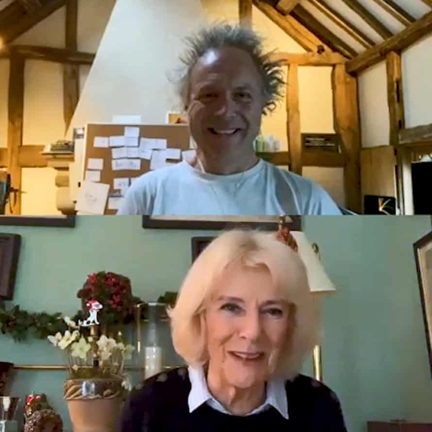 The Duchess of Cornwall and the author and illustrator Charlie Mackesy on a Zoom call for the Reading Room project.
