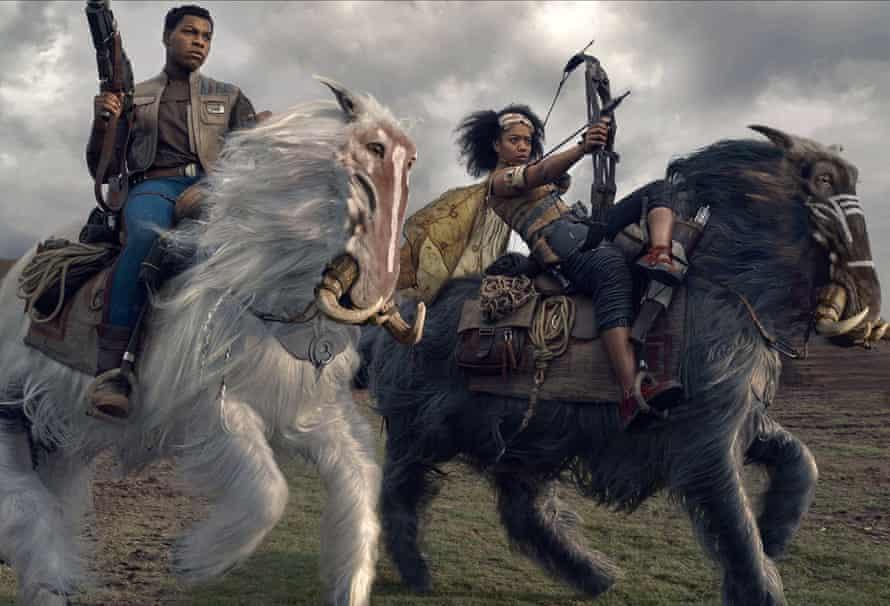 Horse power … John Boyega as Finn, with Naomi Ackie.