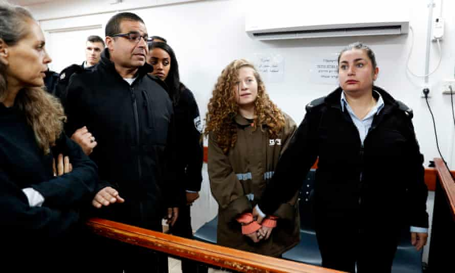 16-year-old Ahed Tamimi in the Ofer military court in the West Bank village of Betunia, January 2018.