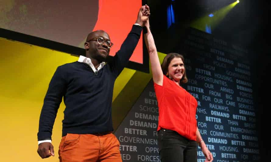 Former Conservative MP Sam Gyimah with Jo Swinson at the Liberal Democrat conference in Bournemouth.