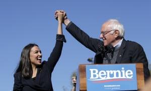 Bernie Sanders and Ocasio-Cortez in October in Queens, New York.
