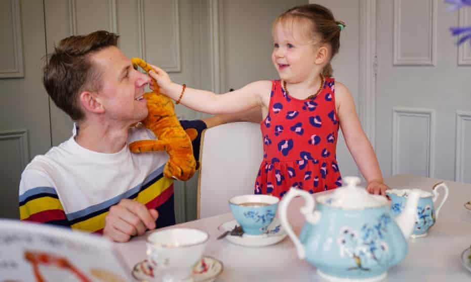 Tea time … Tim Jonze and his daughter, Romy, visit the Lupus studios.