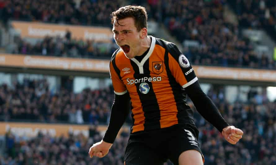 Andrew Robertson celebrates scoring for Hull City against West Ham United in April. The Scotland international is close to joining Liverpool