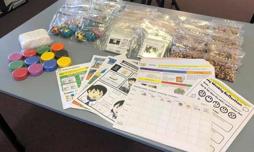 Learning packs and easter eggs prepared by teachers from Wilcannia central school