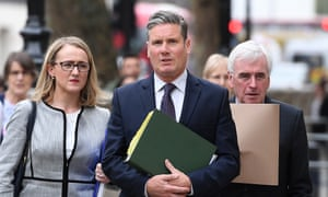 The shadow business secretary, Rebecca Long-Bailey, left, the shadow Brexit secretary, Keir Starmer, centre, and the shadow chancellor, John McDonnell.