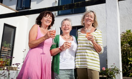 Cheers! Andrea, Sally-Mae and Lyn toast their new communal lifestyle.