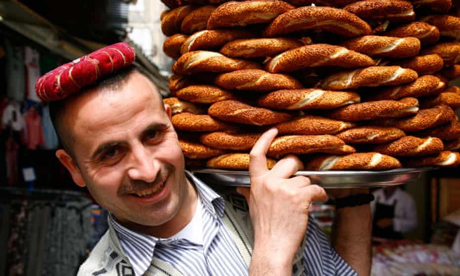 Simit bread seller, Istanbul, Turkey.
