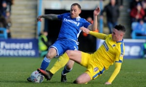 Gillingham, who have a monthly wage bill of £400,000, in action at home against AFC Wimbledon on 29 February.