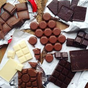 Milk, dark and white chocolate