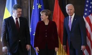 Joe Biden, Petro Poroshenko, Angela Merkel