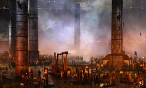 Performers depict the Industrial Revolution during the opening ceremony of the London 2012 Olympic Games