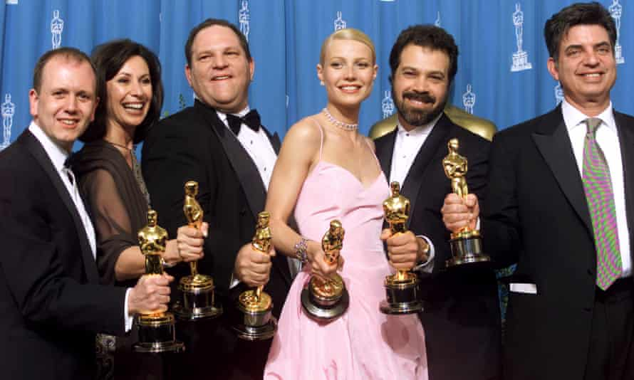 The producers of the Miramax film Shakespeare in Love, including Harvey Weinstein and Gwyneth Paltrow, who was later an early, crucial source in Megan Twohey and Jodi Kantor's reporting.