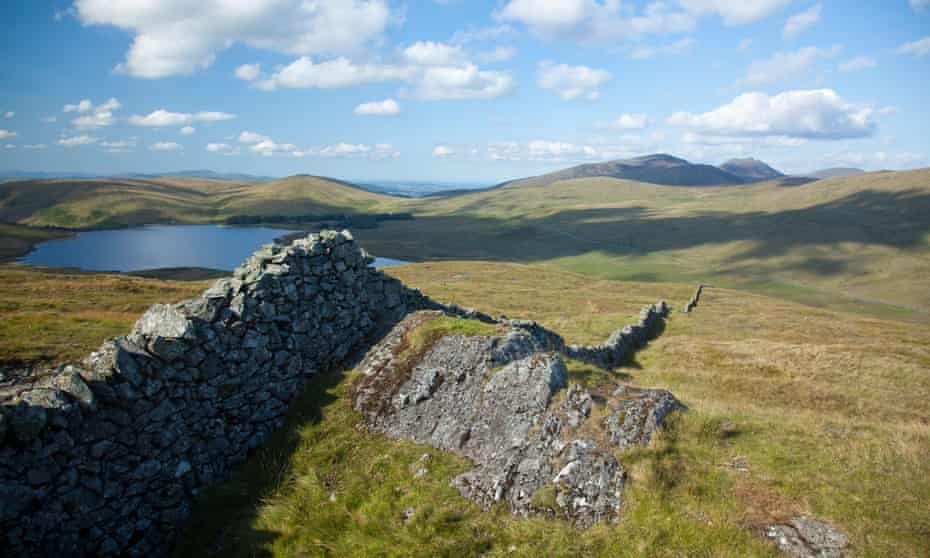 Walking along the Mourne Wall.
