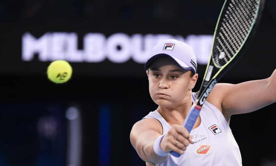 Ash Barty hits a backhand return to Shelby Rogers during their fourth-round match at the Australian Open.
