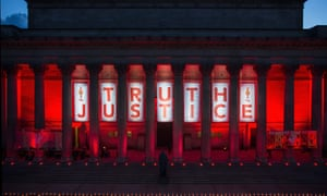 A tribute to the 96 victims of the Hillsborough disaster at St George's Hall, Liverpool.