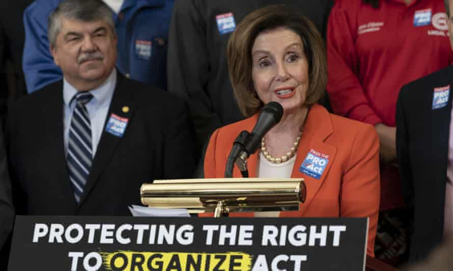 The speaker of the House, Nancy Pelosi, flanked by the AFL-CIO president, Richard Trumka, speaks during a news conference about the Protecting the Right to Organize (Pro) Act in February.