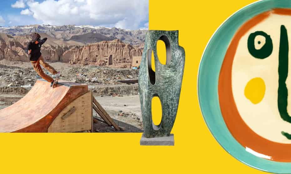 From left: Skateistan Bamyan intl build team Lisa Jacob on quarterpipe April 2021. Sculpt HFG.19 Hepworth Rock Form (Porthcurno). Ottolenghi Face Plate Small £17.20