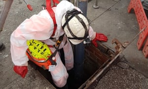 Thames Water worker prepares to enter a sewer to remove the Whitechapel fatberg