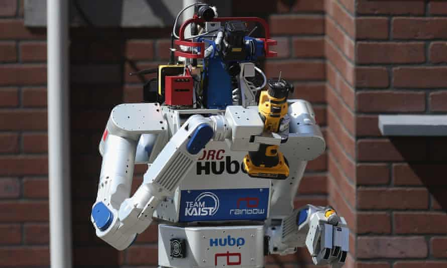 A prototype robot goes through its paces at the Defense Advanced Research Projects Agency (Darpa) Robotics Challenge in Pomona, California, in 2015.