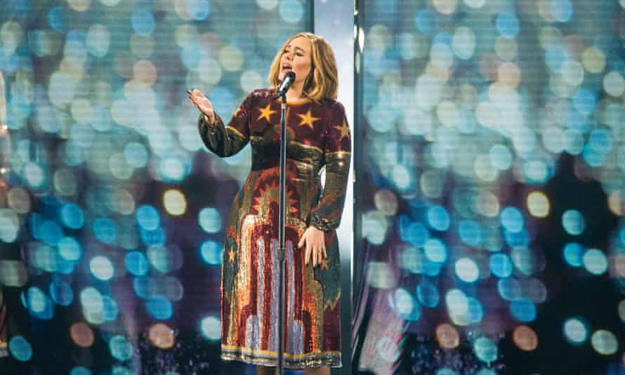 Adele performs at the Brit Awards 2016 at The O2 Arena in London
