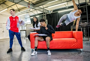 The cast of Ode to Leeds in rehearsal … from left, Archie Rush, Leah Walker, Genesis Lynea and Chance Perdomo.