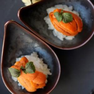 Uni sushi, made with sea urchin roe.