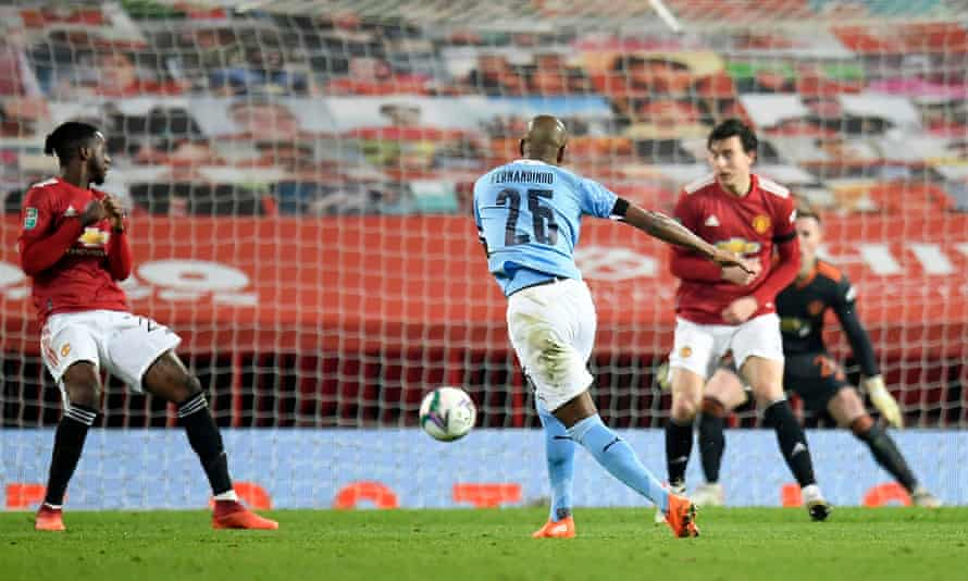 Fernandinho drives in the second goal to seal a fourth straight Carabao Cup final for Manchester City.
