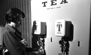 A tea vending machine at Haymarket, London, 1951.