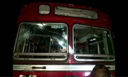 One of the buses that were attacked 150 miles north of the capital, Colombo.