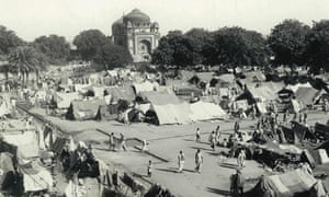 A camp for displaced Indian Muslims next to Humayun's Tomb in New Delhi, during the period of unrest following the partition of India and Pakistan.