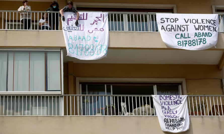 Banners on balconies in Beirut, Lebanon, protesting against domestic violence during a campaign dubbed #LockdownNotLockup in April last year.