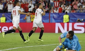 Wissam Ben Yedder celebrates after completing his hat-trick from the penalty spot.