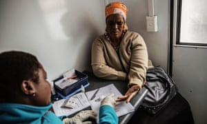 A woman gets tested for HIV