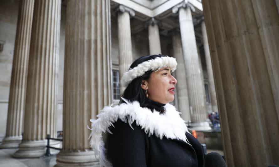 Tarita Alarcón Rapu, governor of Easter Island gives a news conference outside the British Museum after requesting the return of the statue.