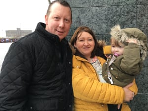 Manchester United fans James and Nicky Cullen and their daughter Lydia outside Old Trafford. James said he was 'not happy' about Jose Mourinho's sacking.