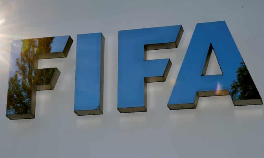 The Fifa logo at its headquarters in Zurich