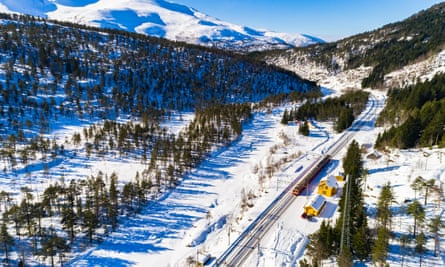 The Oslo-Bergen train in Hordaland.