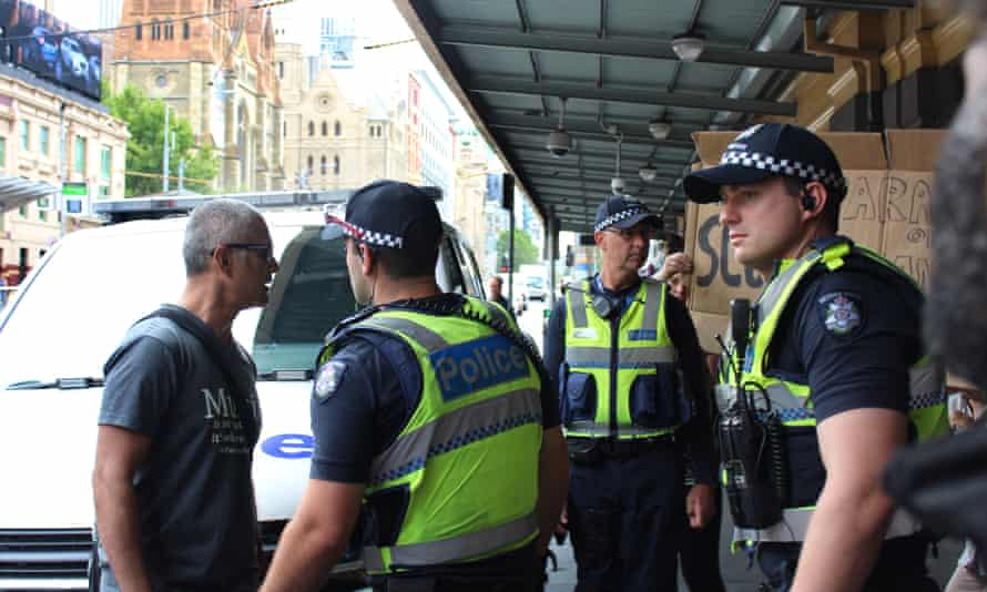 Police and social services move in on Wednesday to remove a camp of homeless people from Flinders Street station in Melbourne, sparking protests.