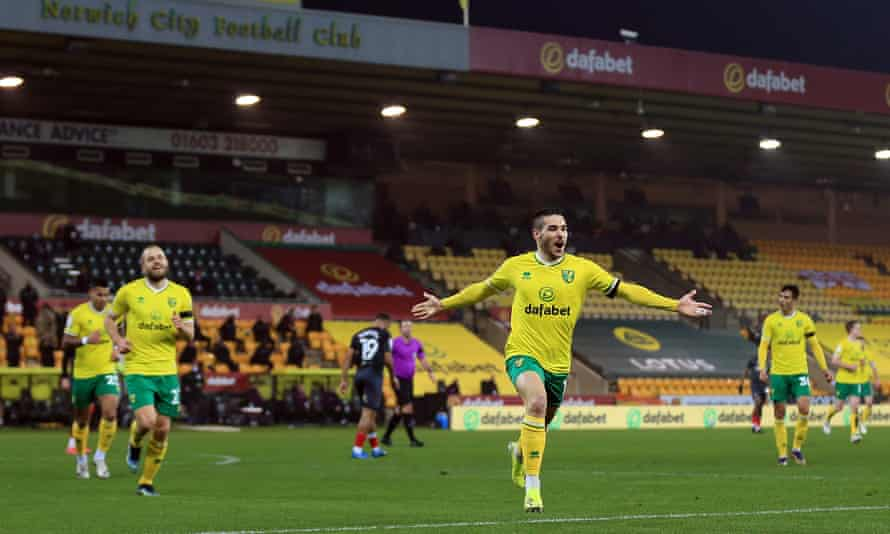 Emi Buendía celebrates his superb first-half strike, which proved to be the match winner for Norwich against Brentford.