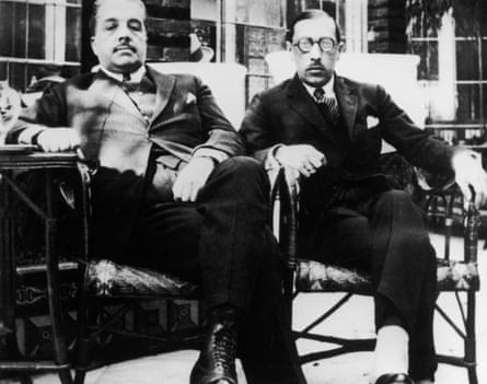 impresario Sergei Diaghilev with Igor Stravinsky in Seville during their Ballets Russes collaboration.