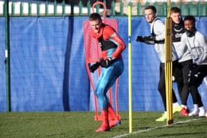 Jamie Vardy, dressed as Spider-Man, during training.