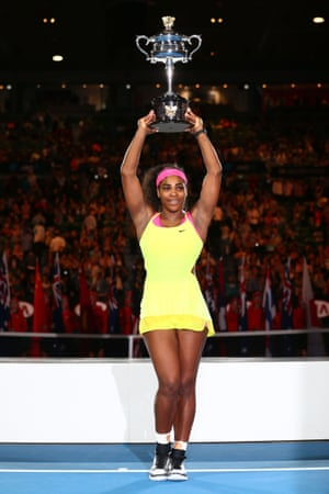 Serena Williams holds the trophy aloft after her win in Melbourne in 2015