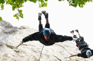 England batsman Alastair Cook plummets head first during an abseiling exercise at the England Cricket squad pre-Ashes training camp in Bavaria during September 2010.