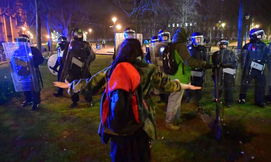 Police and protesters at College Green in Bristol on Tuesday night.